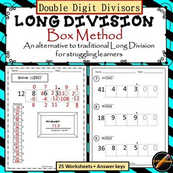 This Is A Variation Of My Popular Long Division Box Method Product This Product Has Double Digit Diviso Long Division Upper Elementary Math Teaching Division Two digit division worksheets pdf