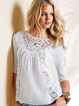 Cotton Crochet-trim Blouse