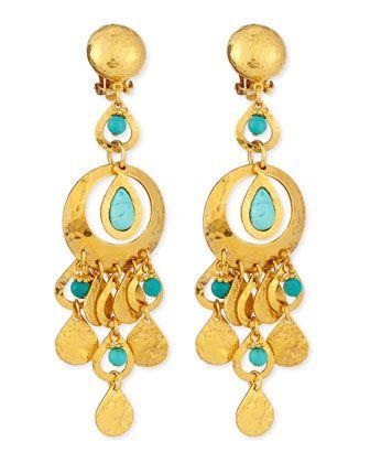 Jose & Maria Barrera 24K Gold-Plated Chain Drop Clip-On Earrings XuAU8A3Be5