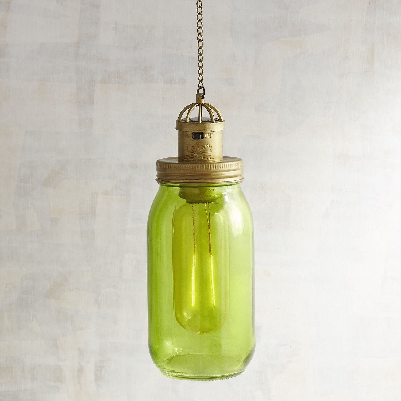 Green Solar Glass Jar
