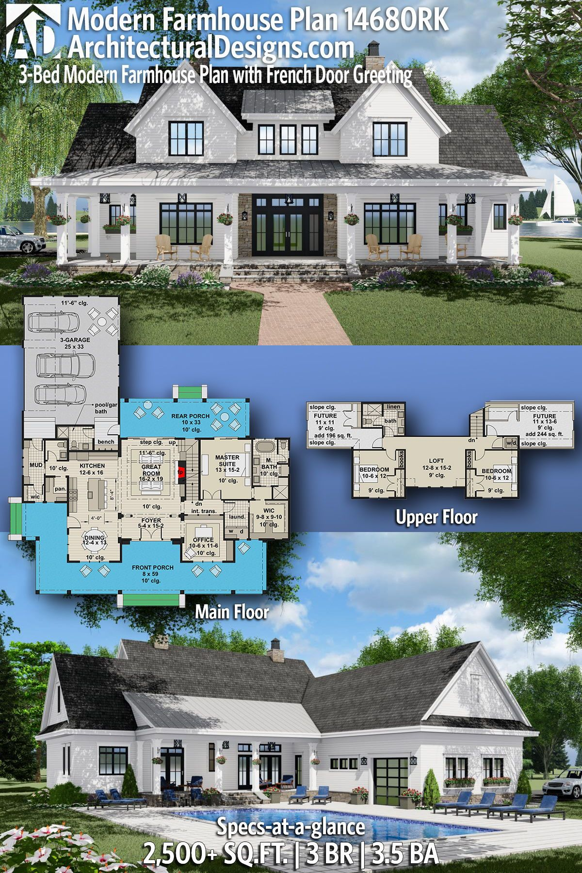 Plan 14680RK: 3-Bed Modern Farmhouse Plan with French Door Greeting