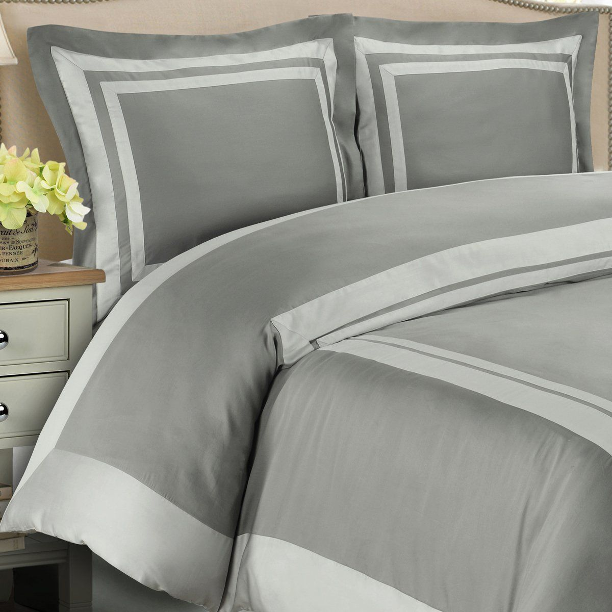 4pc King Cal King Bedding Set Including 300tc Hotel Grey With Light Grey Duvet Set Cover Set White Down Alte Duvet Cover Sets Grey Duvet Set King Bedding Sets