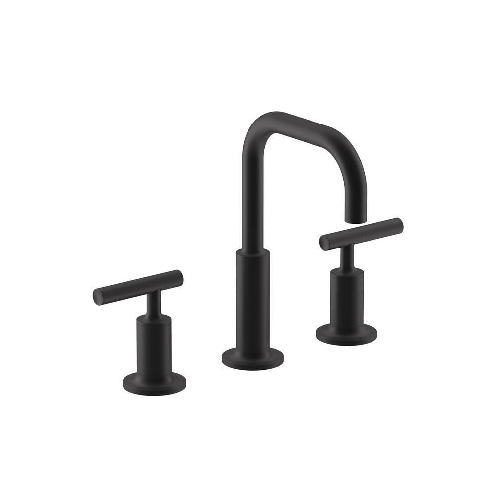 Photo of KOHLER Purist 8 in. Widespread 2-Handle Bathroom Faucet with Low Cross Handles in Matte Black-K-14406-4-BL – The Home Depot
