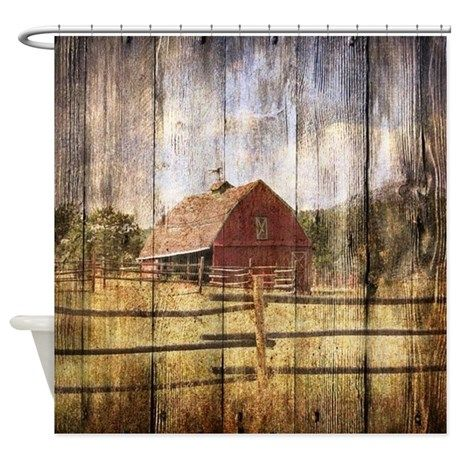 Western Country Red Barn Shower Curtain By Focusedonyou Western Bathroom Decor Rustic Shower Curtains Red Barn