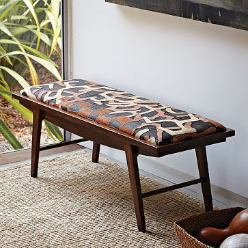 African Kuba Cloth As Furniture Cover Gorgeous Crescent Bench Patchwork Westelm