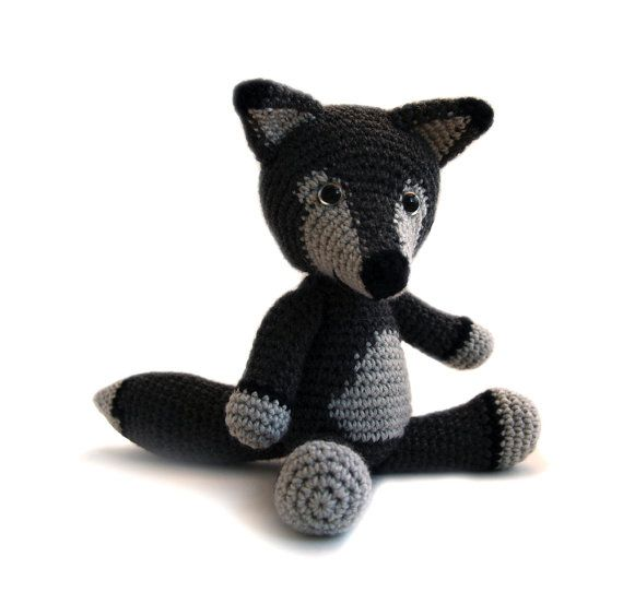 Boris the wolf wants to hug you! With this crochet pattern you can make your own adorable wolf! The pattern is in pdf format and provides detailed step-by-step instructions in standard American terms, with 19 photos to help you along the way.  This pattern is for the advanced beginner with knowledge of crocheting in the round, increasing, and decreasing. Color changes are explained particularly.    Finished size: if done with DK/light worsted yarn and a 3,5 mm (size E) hook, it will be a...