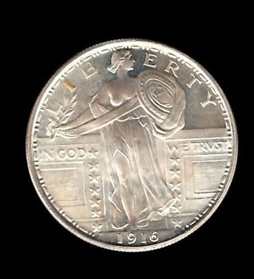 One Ounce 1 Oz 999 Fine Silver 1916 Standing Liberty 25c Designed Round Silver Bullion Fine Silver Bullion