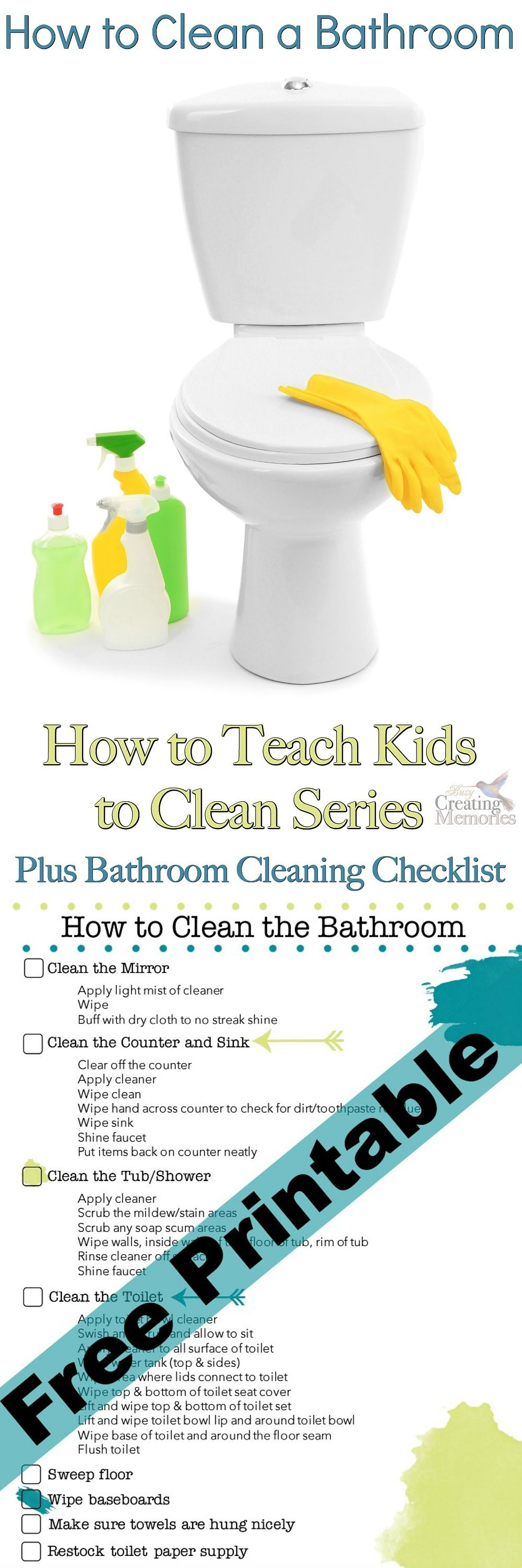 Teach Kids To Clean A Bathroom Checklist Printable Bathroom Cleaning Checklist House Cleaning Tips Bathroom Cleaning