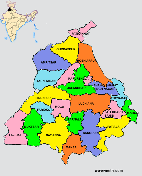 Punjab Districts Map Indian States Pinterest India India - Map of all states