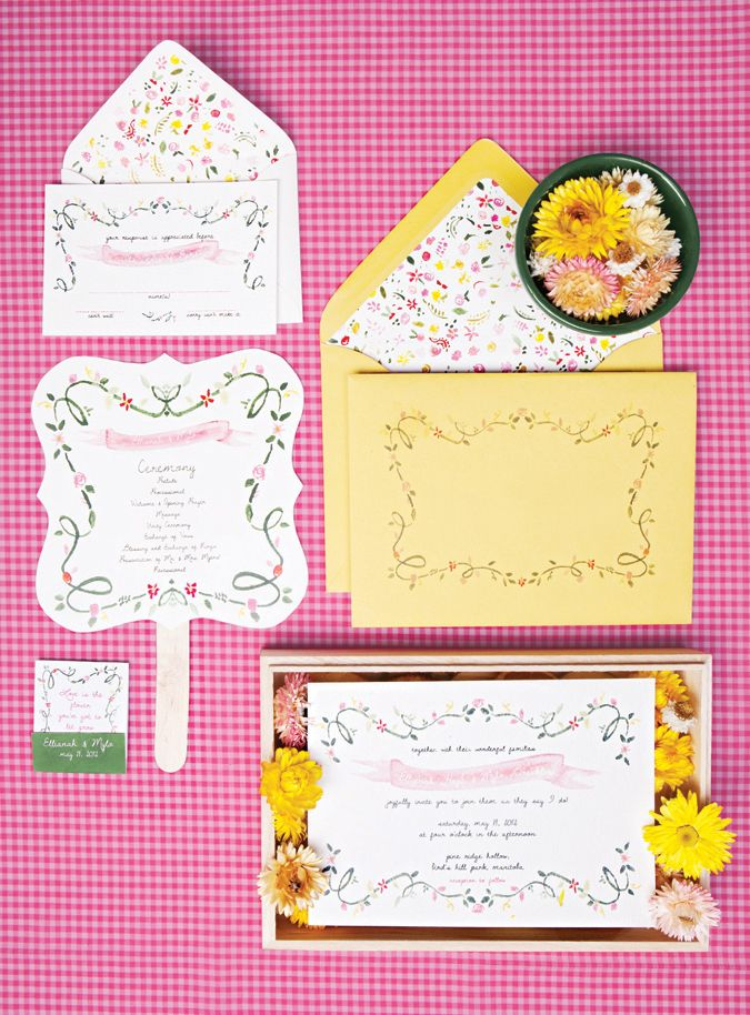 The Ellianah www.paper-airplanes.ca  #hand #painted #watercolor #floral #invitations #invite #garden