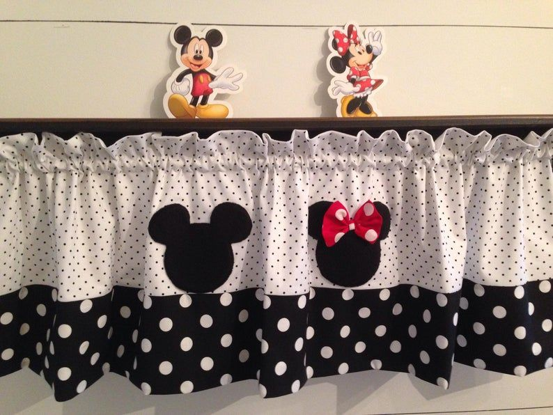 Mickey And Minnie Valance Etsy In 2021 Mickey Mouse Curtains Mickey Mouse Kitchen Disney Room Decor