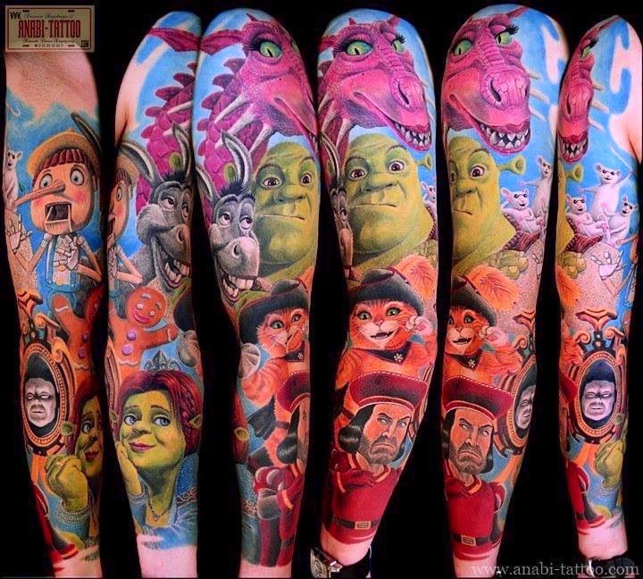 Shrek Tattoo Full Sleeve Movie Tattoos Cartoon Tattoos Tattoos Gallery