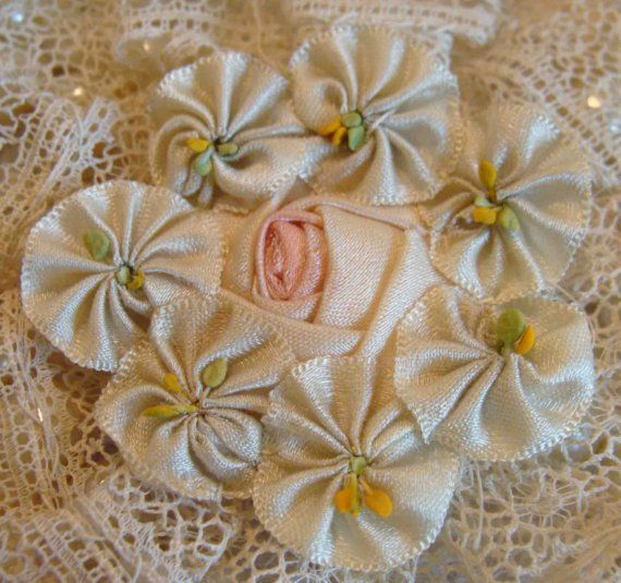 Circa 1920s Never Used Exquisite Pink and Blue Silk Ribbonwork Rosette Passementerie Adorned With Lace