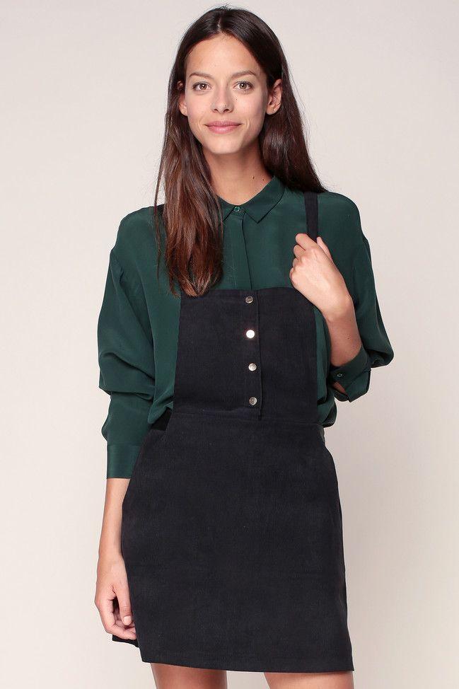 code promo 10770 b6108 Jupe salopette coton velours noir Leprechau - Grace & Mila ...
