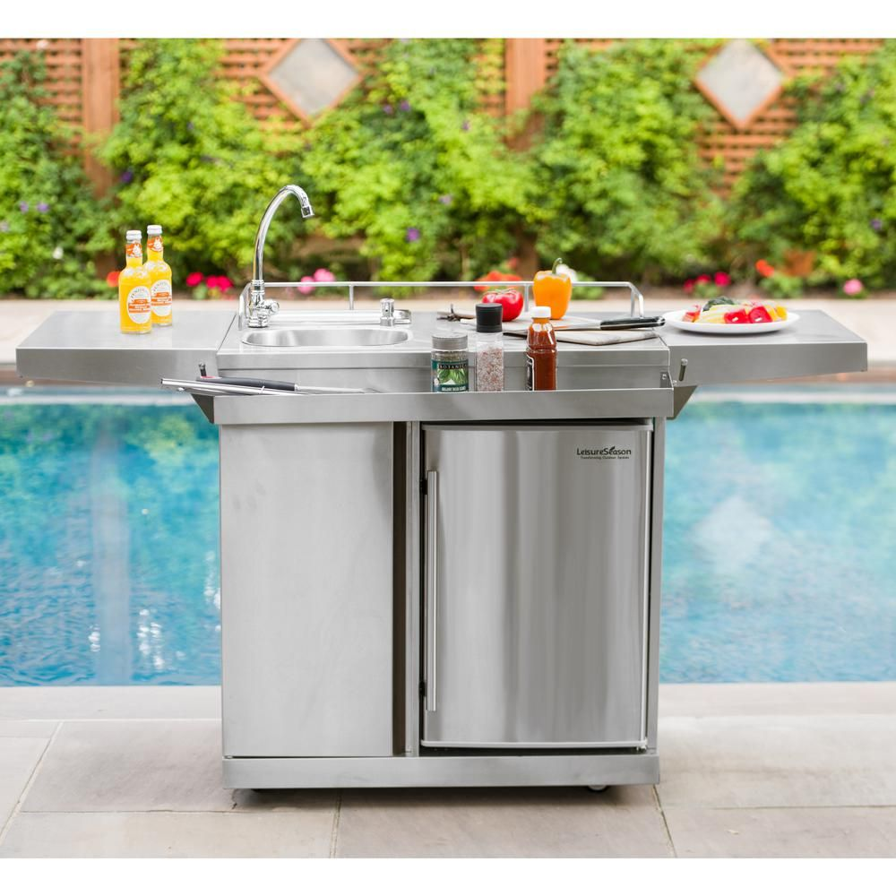Leisure Season 62 In Stainless Steel Outdoor Kitchen Cart And Beverage Center With Fridge And Sink Okc158 The Home Depot Modular Outdoor Kitchens Diy Outdoor Kitchen Outdoor Kitchen Sink