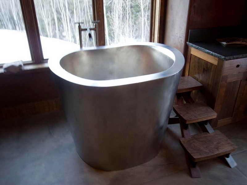Painting of unique japanese soaking tub kohler bathroom for Small bathroom tub