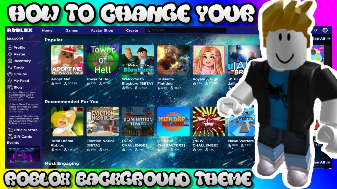 How Do You Change Your Game Picture On Roblox How To Change Your Roblox Background Theme In 2020 Roblox You Changed Change