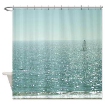 Kids Shower Curtain - Sailboat - Photographic ocean waves Sailing ...