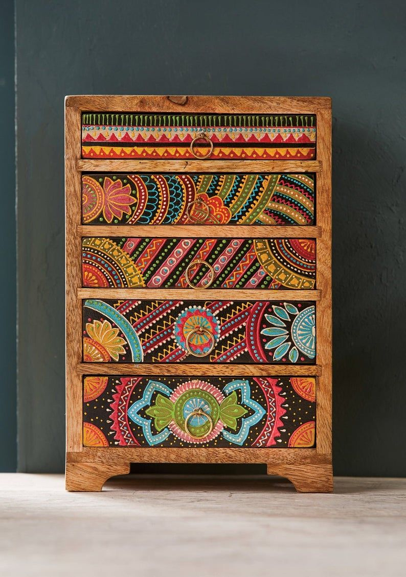 Wooden hand painted 5 drawer jewellery box / woode