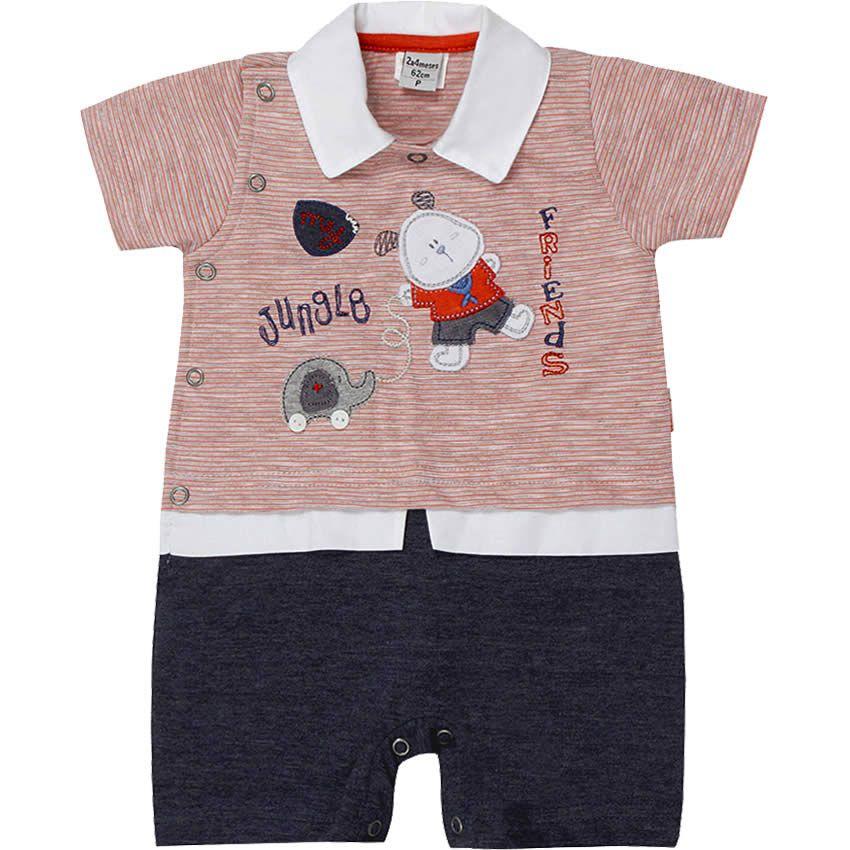Macacão Curto de Bebê Menino Listrado Laranja - Sonho Mágico :: 764 Kids | Roupa bebê e infantil