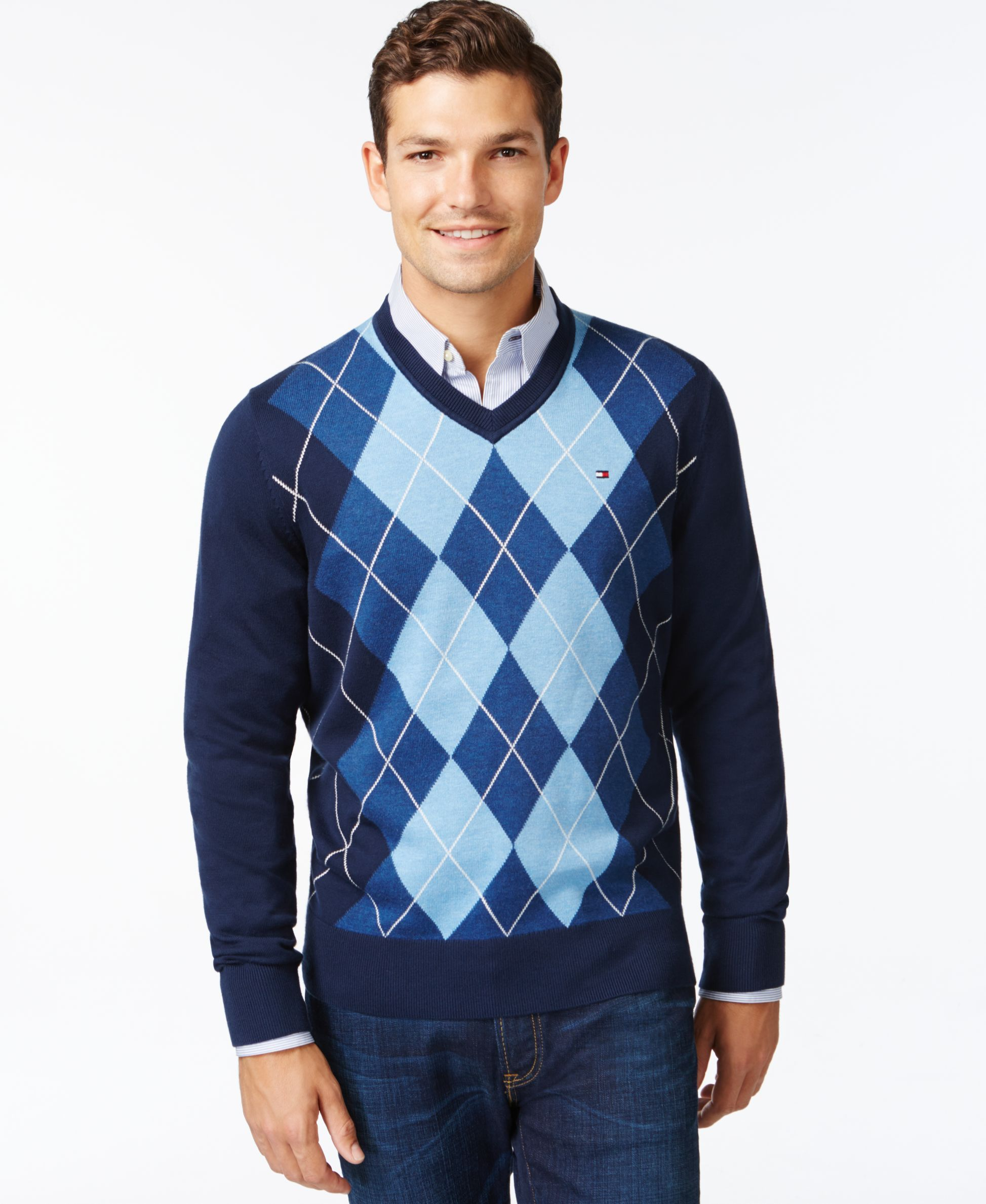 Tommy Hilfiger Signature Argyle V-Neck Sweater  3b0fc90d41da