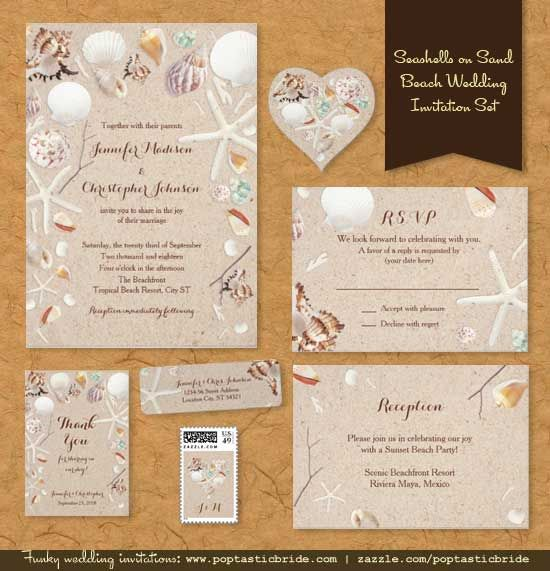 What Could Be More Perfect For A Summer Beach Wedding Than An Invitation Set That Has Colorful Sea Shells And Starfish On White Sandy