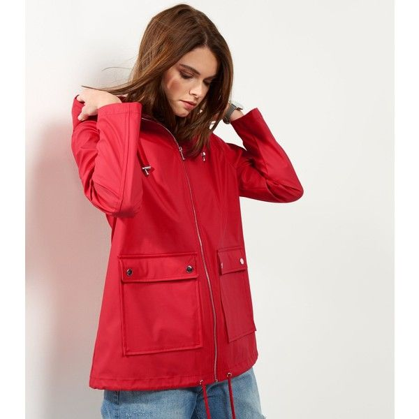 New Look Red Matte Rain Coat (€40) ❤ liked on Polyvore featuring ...
