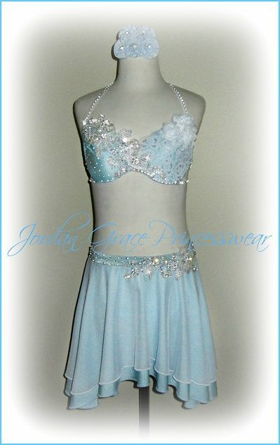 85757d8d8f48 Light Blue Two-Piece Jeweled Floral Accent's Solo Costume. | Solo ...