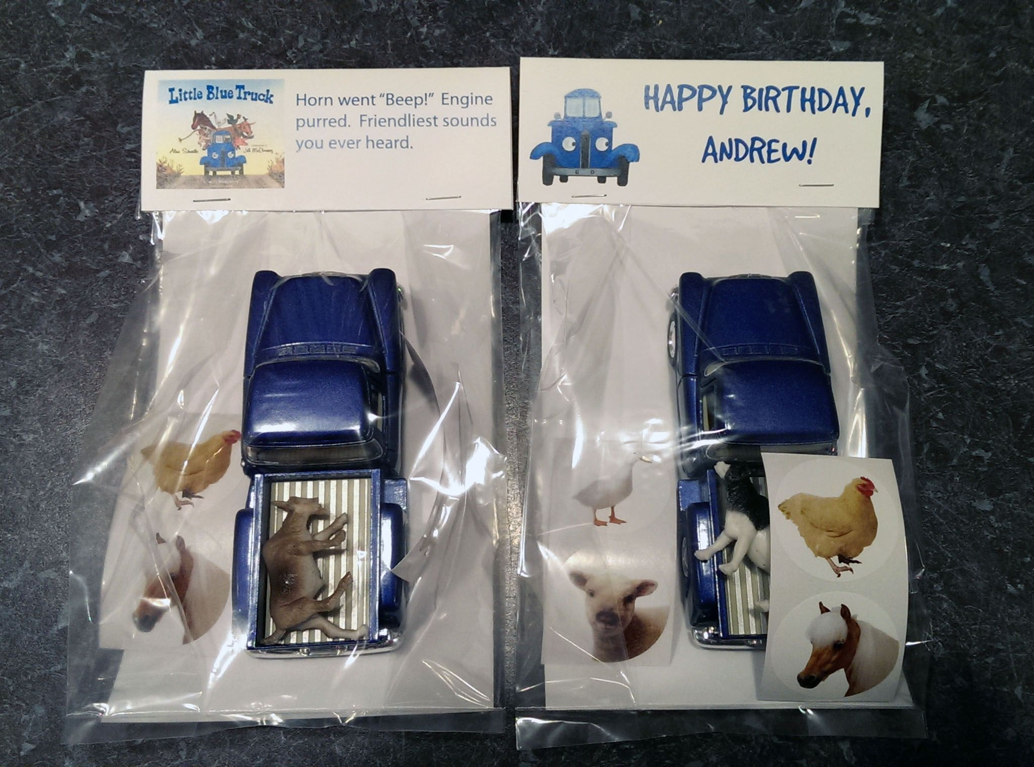 Little blue truck party favors truck animals and