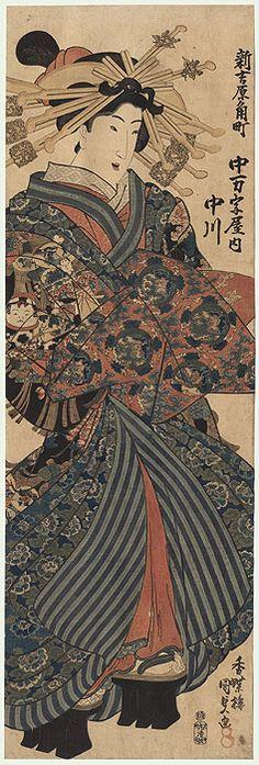 Courtesan Nakagawa of the Nakamanjiya on Sumi Street in the New Yoshiwara, circa 1830s by Toyokuni III/Kunisada (1786 - 1864)