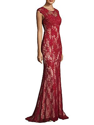 a09b82f97ffb8 Basix Black Label Embroidered Lace Gown   Clothing   Red lace gown ...