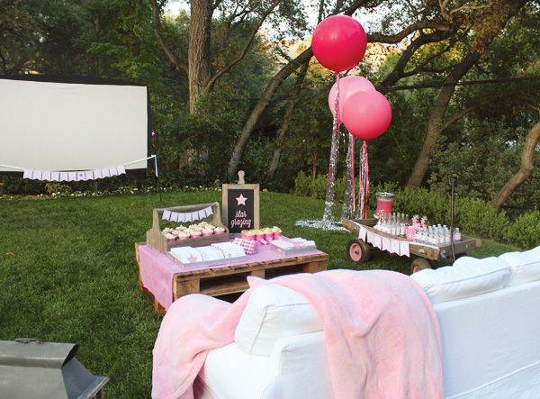 Sparkly Pink Star Party Backyard Birthday Hostess with the