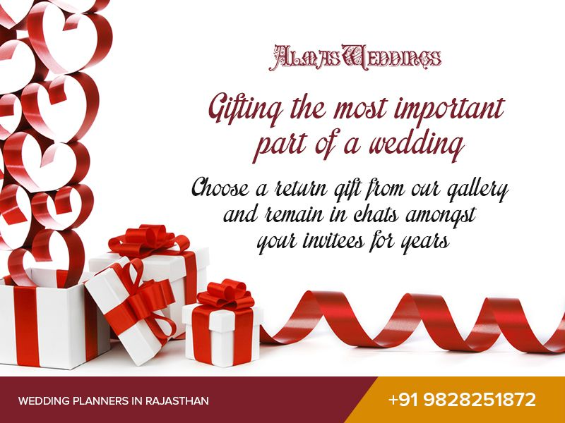 Gifting the most important part of a wedding!    Choose a return gift from our gallery and remain in chats amongst your invitees for years.