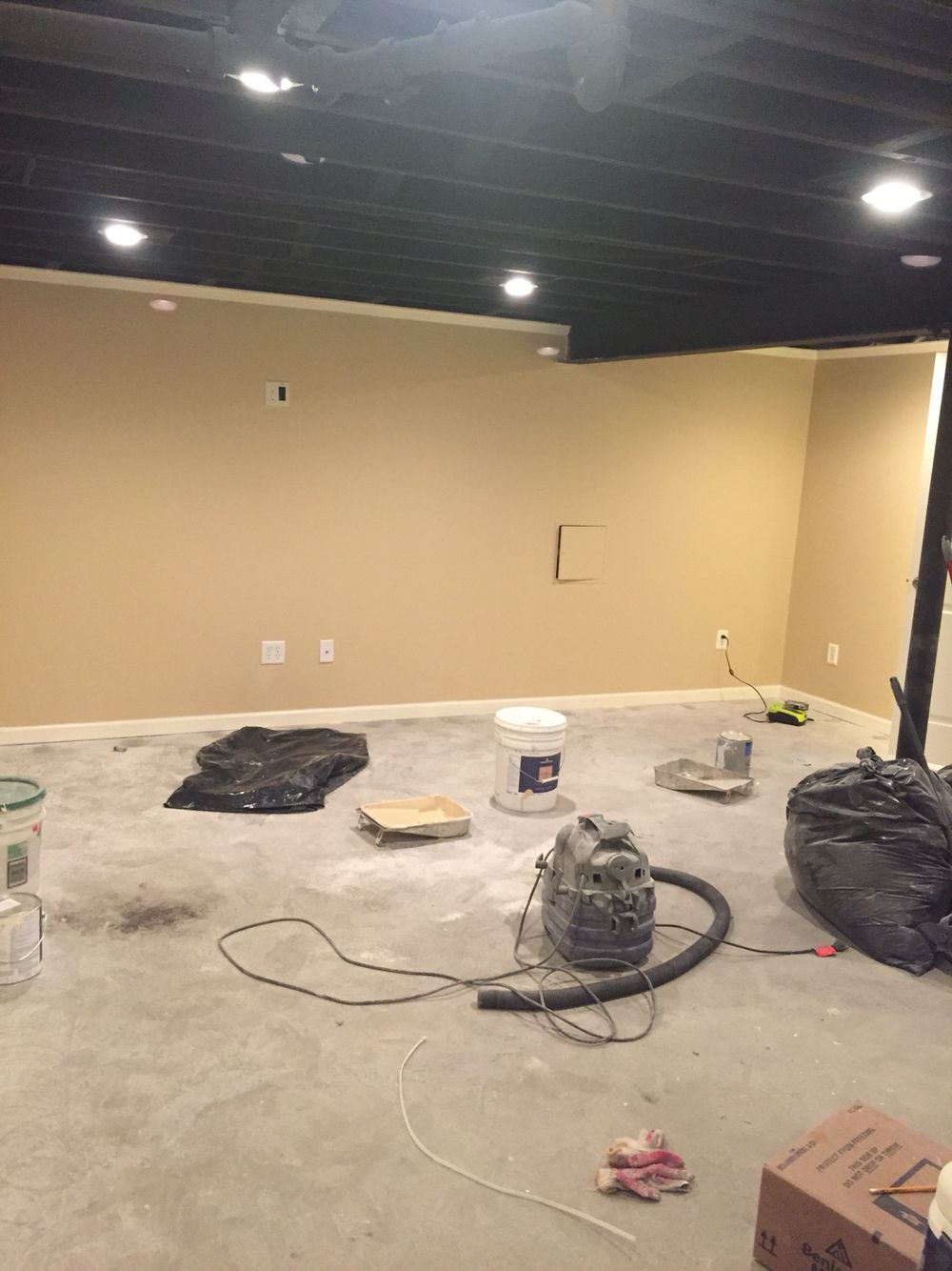 Finished Basement With Matte Black Ceiling My Basement Is 1000sq