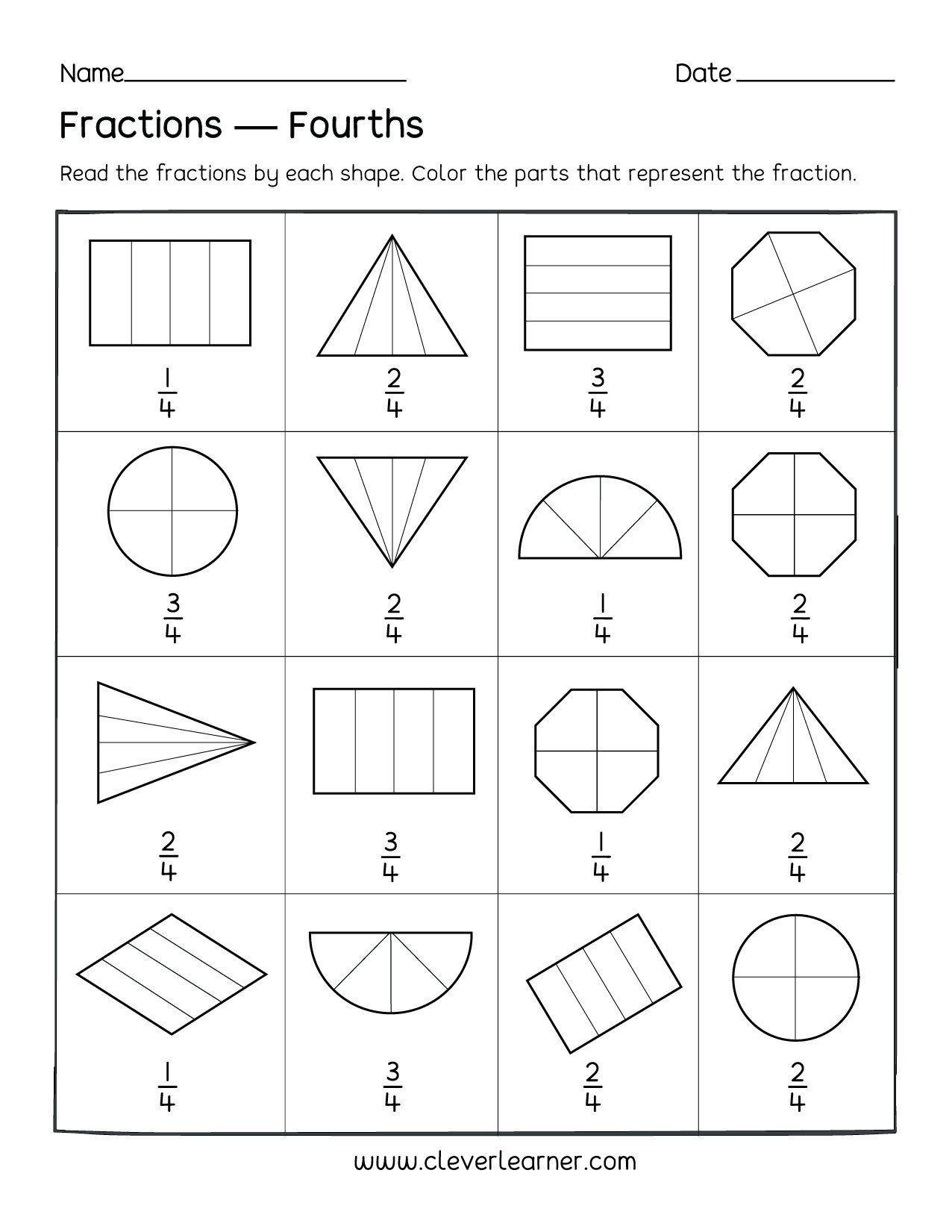 Fraction Worksheets First Grade Fun Activity On Fractions Fourths Worksheets For Children In 2020 Fractions Worksheets First Grade Worksheets 1st Grade Worksheets