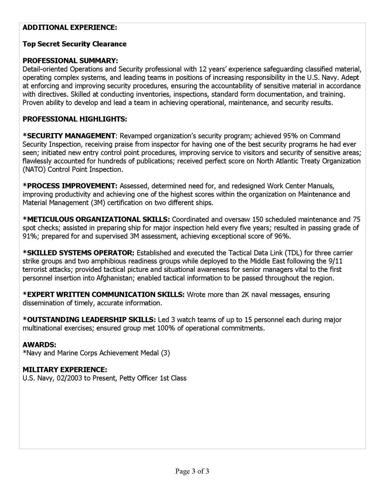 Military Resume Samples & Examples in 2014 | MRW | office ...