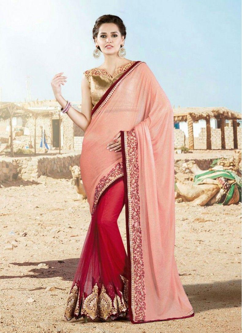 Peach and red net patch border designer wedding saree sarees