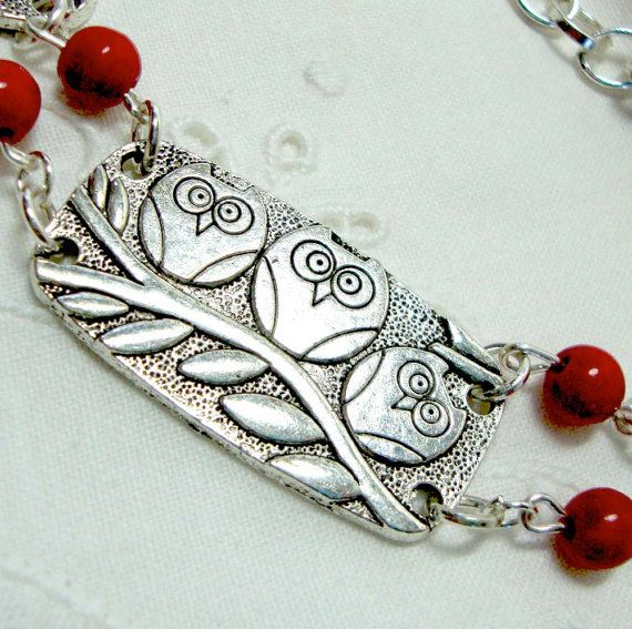 Owl Bib Necklace Red Berry Stones Three Owls on a by boomerville, $20.00