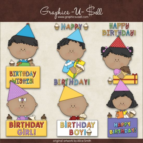 Birthday Greetings 2 - Whimsical Clip Art by Alice Smith