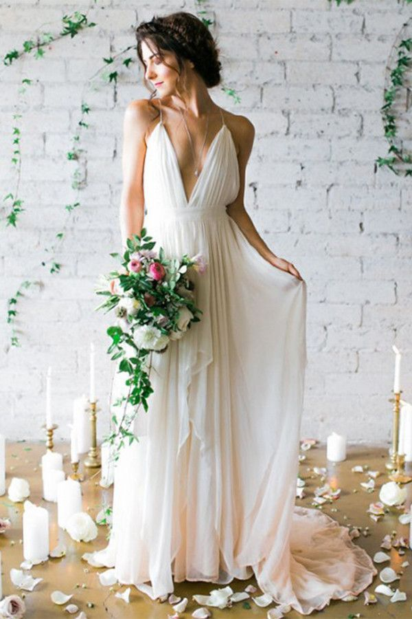 Simple Deep V-neck Sweep Train Ivory Wedding Dresses With Straps ...
