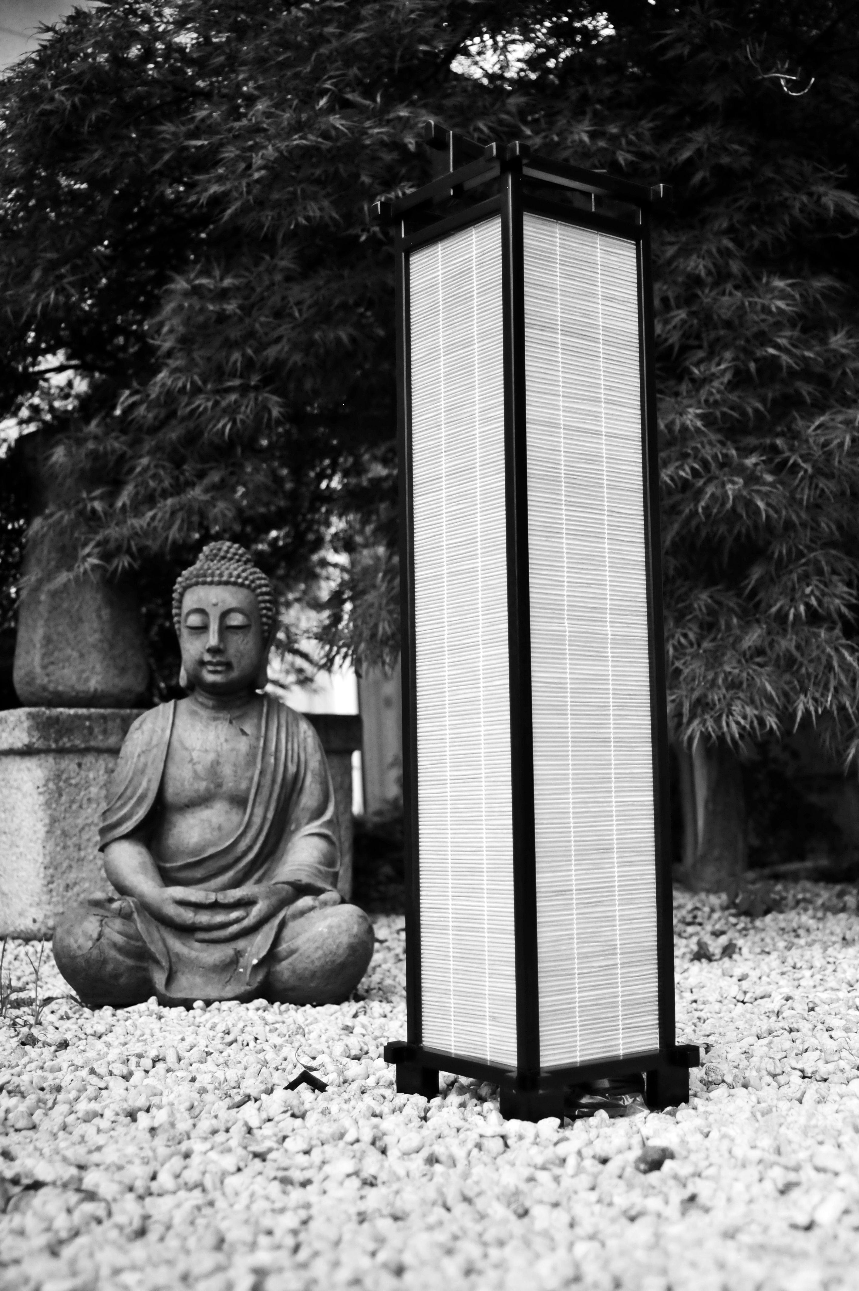 Japanische Lampe Nara Walnuss/ Bambus Höhe 90 cm