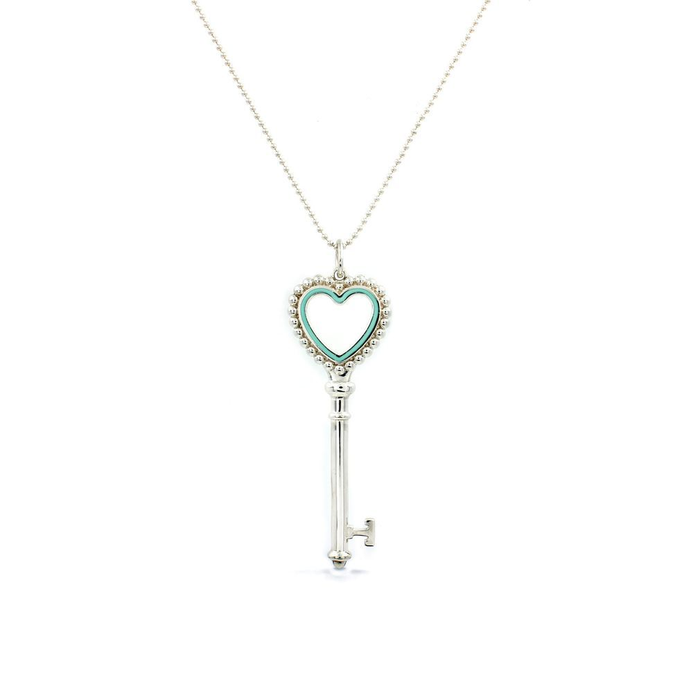 Authentic tiffany co large blue heart key pendant on 30 beaded authentic tiffany co large blue heart key pendant on 30 beaded chain sterling aloadofball Image collections