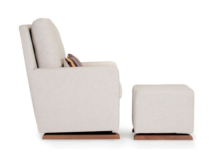 Monte Design Modern Nursery Furniture   Side View Of The Modern Upholstered  Como Glider And Ottoman