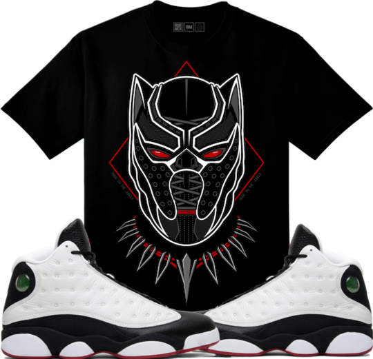 3e56eaaa2eff7f Original Rufnek T-Shirt Jordan 13 He Got Game Sneaker Tees Shirt - BLACK  PANTHER