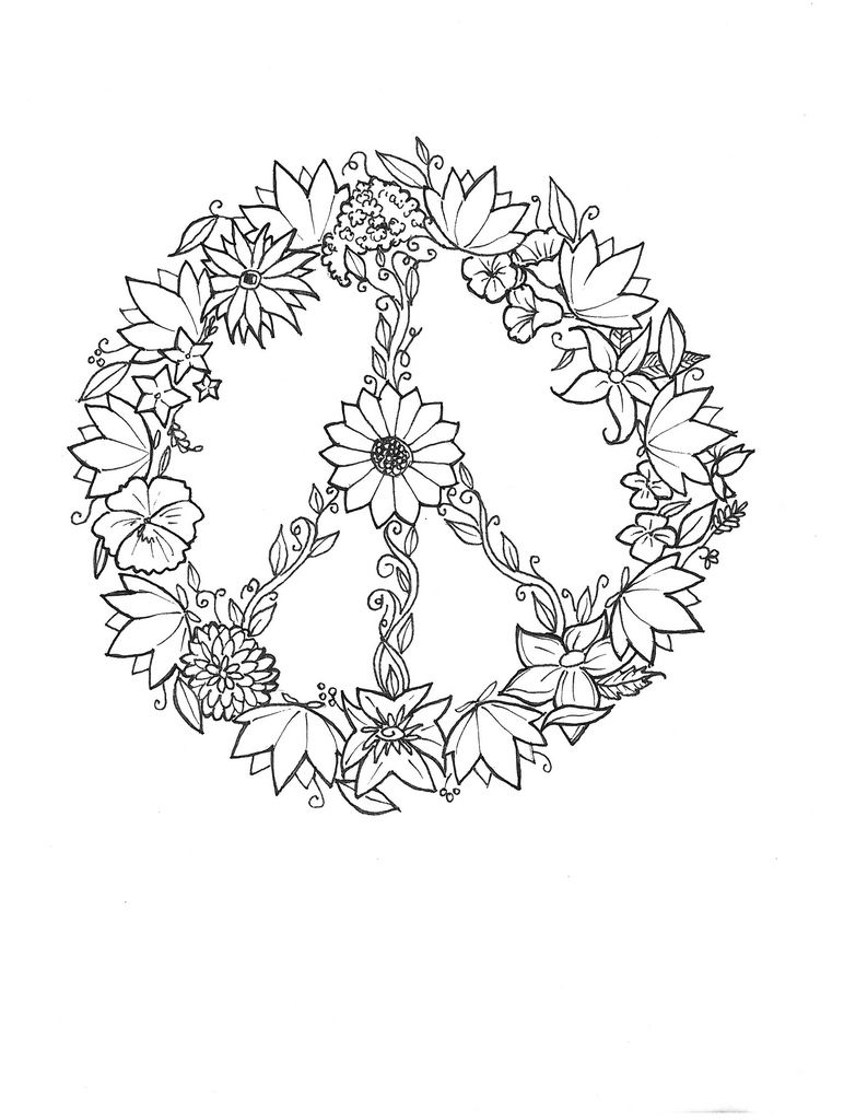 Small peace sign coloring pages ~ Peace Flowers / Tattoo Design | Flower tattoos, Peace ...