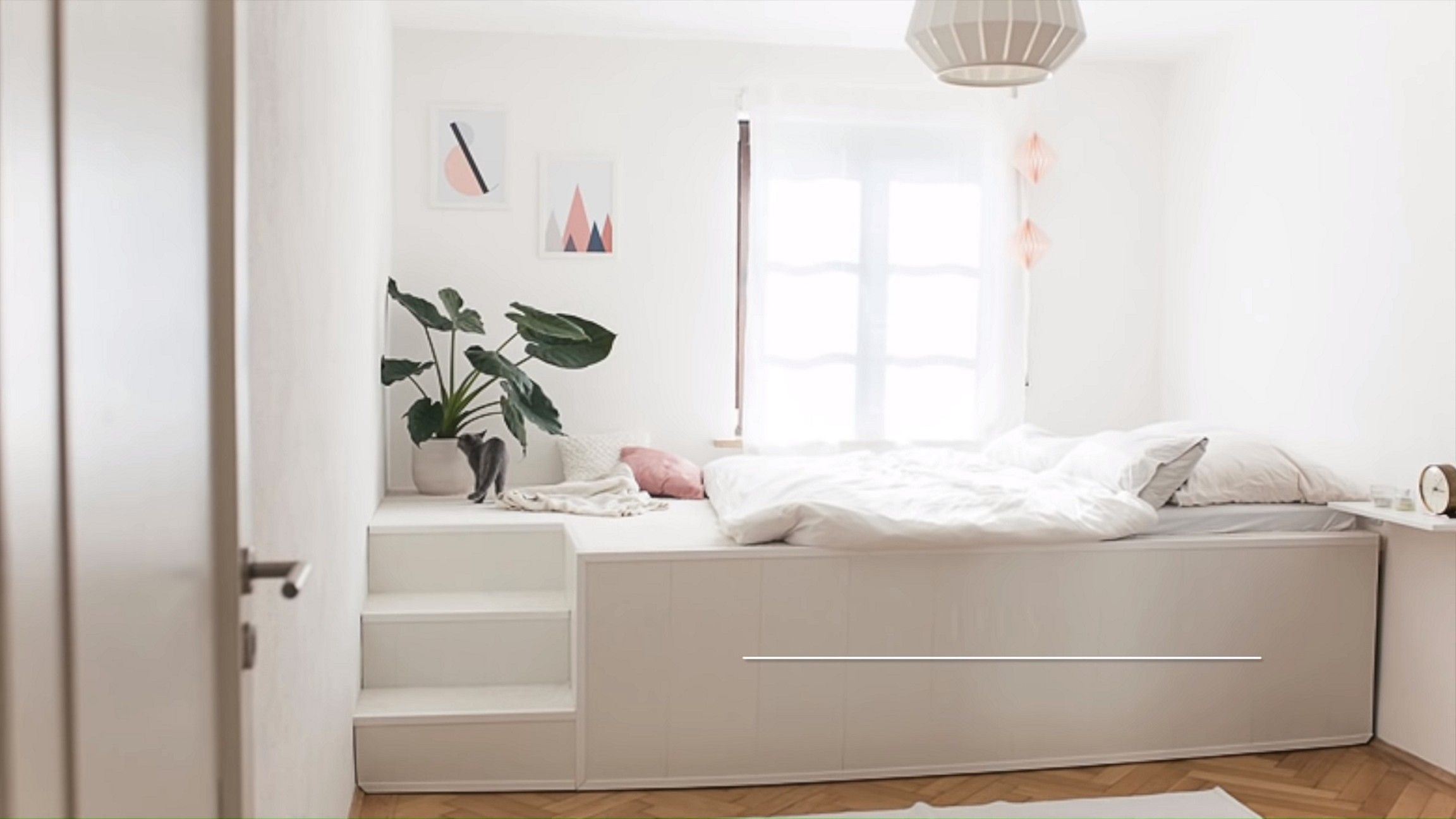 Simple White Podest Bed Design Idea