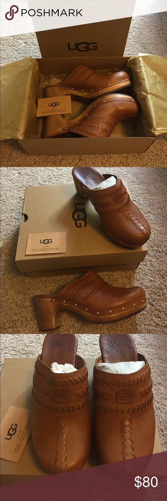 Ugg leather clogs Like new! Worn twice maybe ? Warm rich brown leather- Ugg material in the toes ! Cozy! Cute! Comfortable! 💓price drop💓 UGG Shoes Mules & Clogs