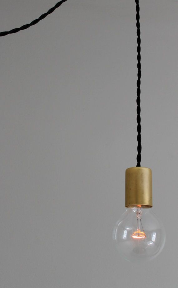 Modern Black And Brass Bare Bulb Pendant Light Simple Edison