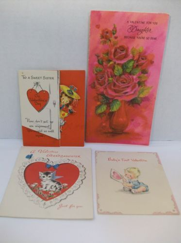 lot 4 vintage valentine 039 s day greeting - Valentine039s Day Greeting Cards