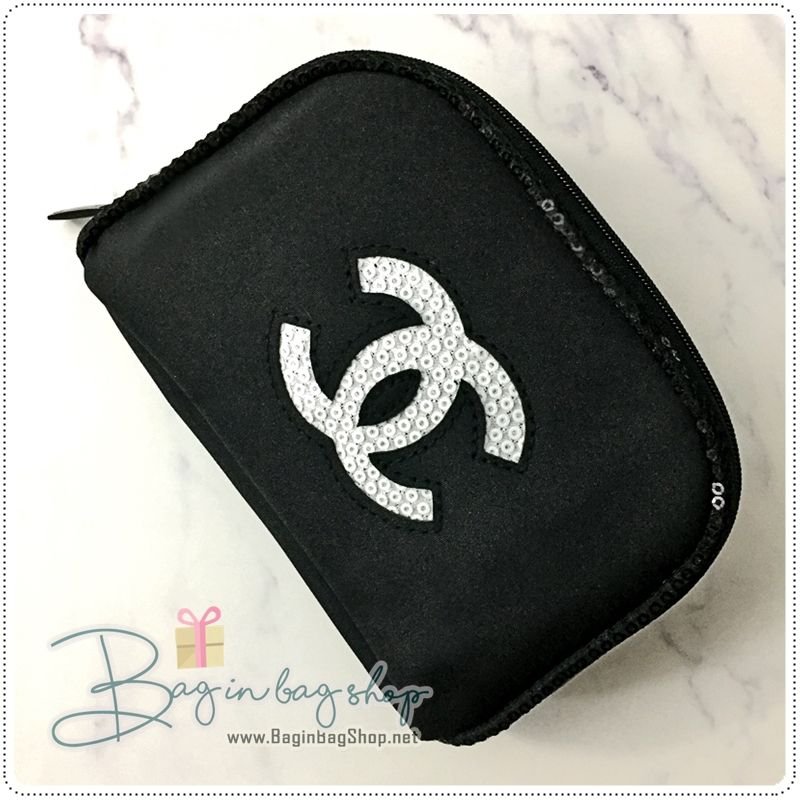 738dc63308e2 CHANEL Beaute Small Cosmetic Pouch with White Sequin VIP Gift #chanel  #brandname #chanelvipgift #chanelbeaute #brandname #cocochanel #black #bag  ...